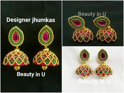 How to make Designer Silk Thread Jhumkas at Home   Bridal Jhumkas   Silk Thread Earrings Tutorial