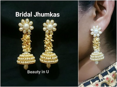 How to make Silk Thread Bridal Earrings at Home | Designer Bridal Jhumkas | Tutorial