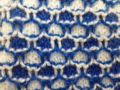 Knitting Stitch pattern no - 20 Hindi - बुनाई डिजाइन - Two color knitting pattern