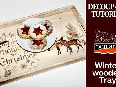 Merry Christmas winter tray decoupage tutorial