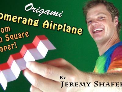 Origami Boomerang Airplane from 6-inch Kami (no music)