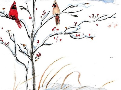 Paint Your Own Christmas Card with Birds