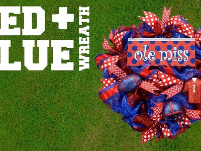 Red and Blue Dual Color Wreath With Ole Miss Sign