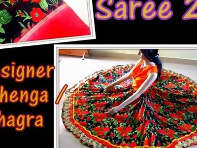SAREE 2 DESIGNER LEHENGA. GHAGRA.PAVADAI - DIY - RECYCLING OLD FABRICS 2 NEW DESIGNER GARMENT