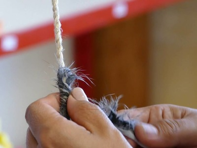 Weaving a rabbit fur blanket - Winding rabbit fur fabric (part 3 of 4)