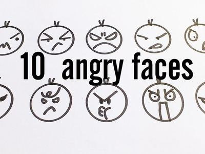10 Cute Angry Faces. Kawaii Expressions to Doodle for kids