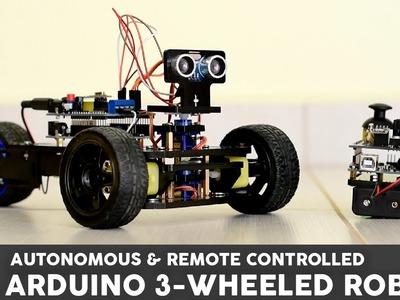 Arduino Project: 3 Wheeled Robot with remote contol or autonomous navigation!