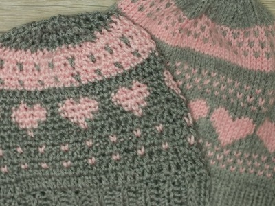 Crochet Knit Stitch with Hearts Hat  Video 3 (final)