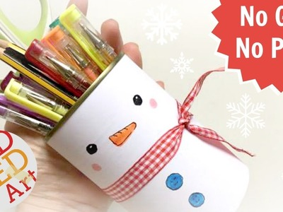 Cute & Easy Snowman Pen Pot DIY - Inexpensive Room Decor Ideas