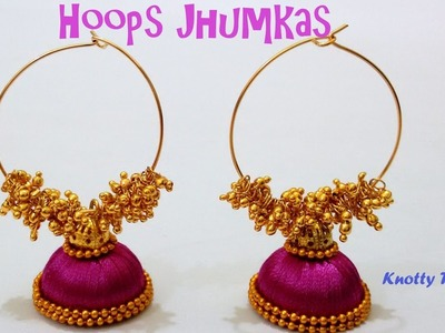 | DIY | How to make Silk Thread Jhumkas With Hoops at Home | Tutorial |