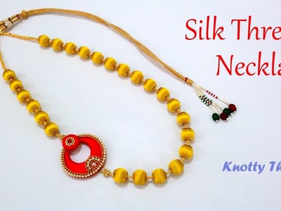 | DIY | How to make Simple Designer Silk Thread Necklace at Home | Tutorial |