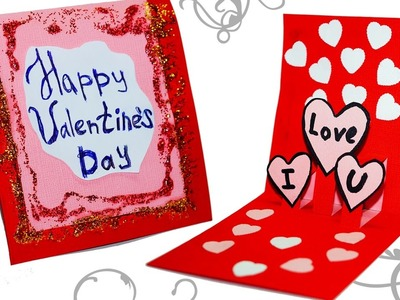 DIY paper crafts. Easy greeting card making ideas for valentine's day. Pop up Love card. Julia DIY