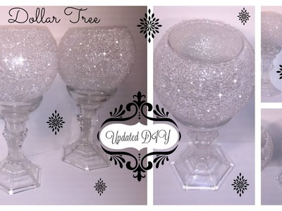 DIY - UPDATED FROSTED BLING CANDLE HOLDER USING MOD PODGE (DOLLAR TREE CRAFT)