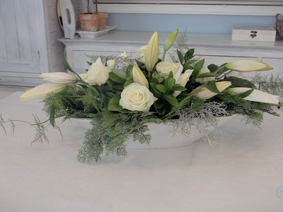Elongated Rose & Lily Wedding Table Centrepiece Floristry Tutorial