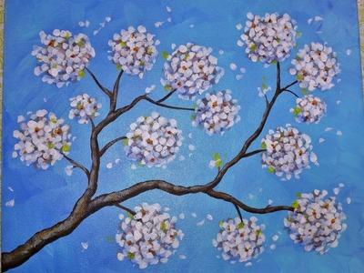 Flowering Pear Blossom Branches | LIVE Acrylic Painting Tutorial | Free Impressionist Art Lesson