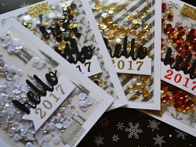 Holiday Card Series 2016   Hello 2017 shaker cards (fuse tool)