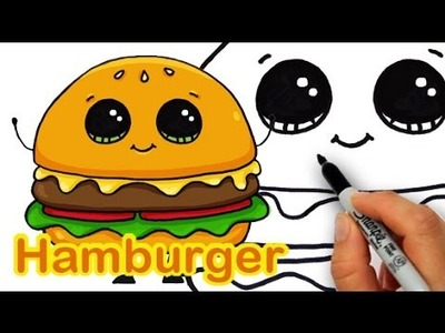 How to Draw a Cartoon Hamburger Cheeseburger Cute and Easy