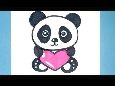 How to Draw a  Panda with a Love Heart -  Como Dibujar un Panda Kawaii