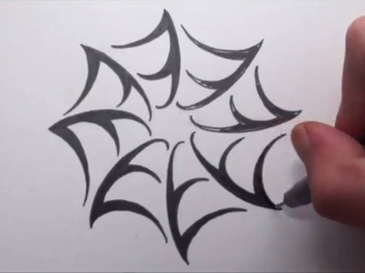 How To Draw a Spider Web - Tribal Tattoo Design Style