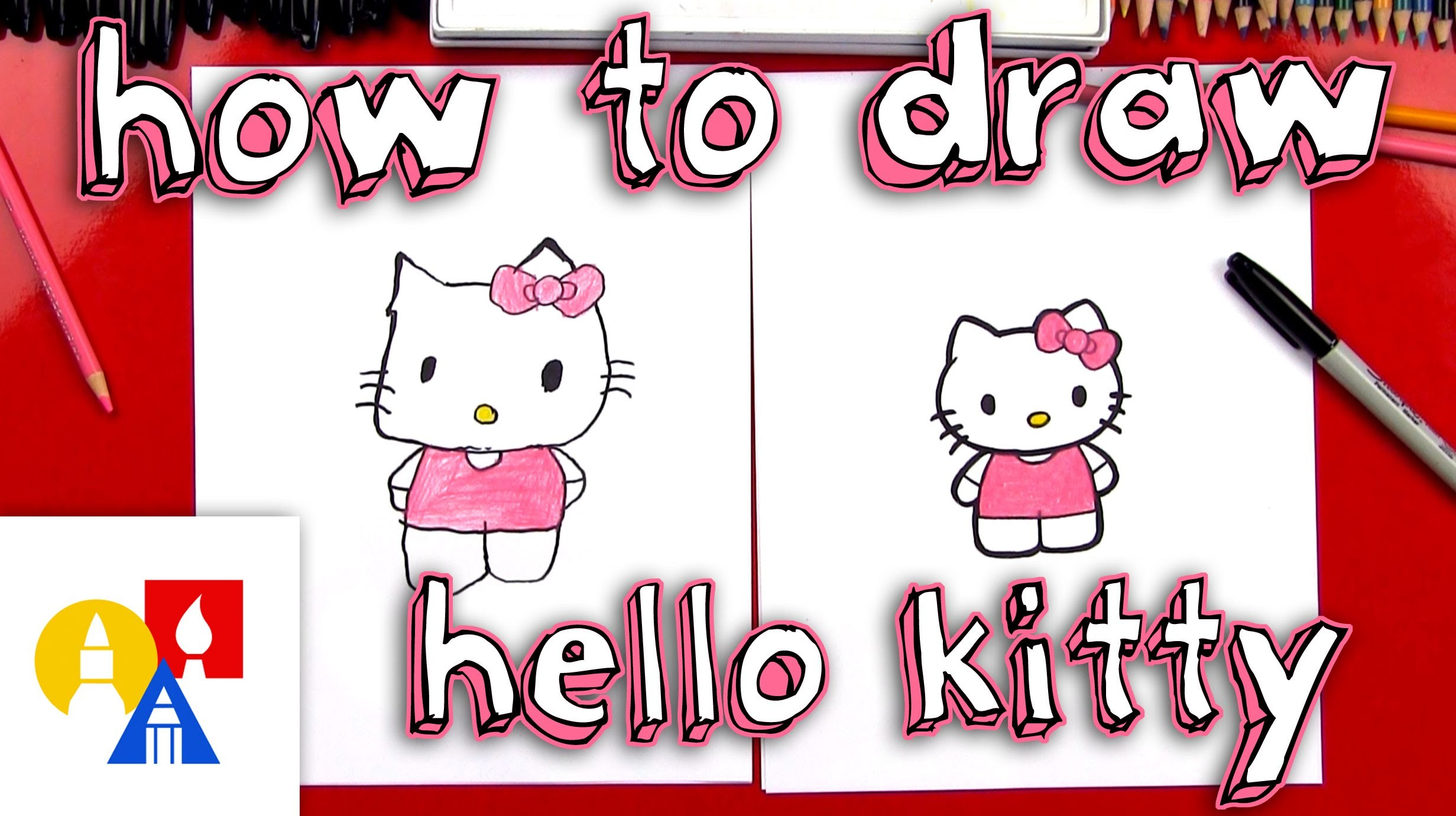 How To Draw Hello Kitty (New Lesson With Color)