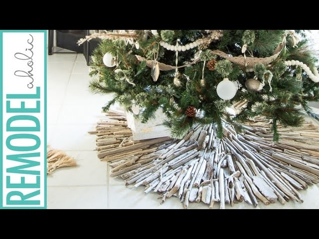 How to Make a Driftwood Christmas Tree Skirt; Beach Cottage Style