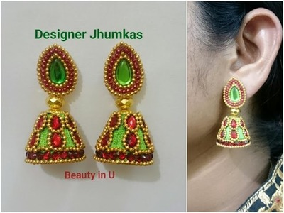 How to make Designer Silk Thread Earrings at Home using kundans| Designer Jhumkas | Tutorial
