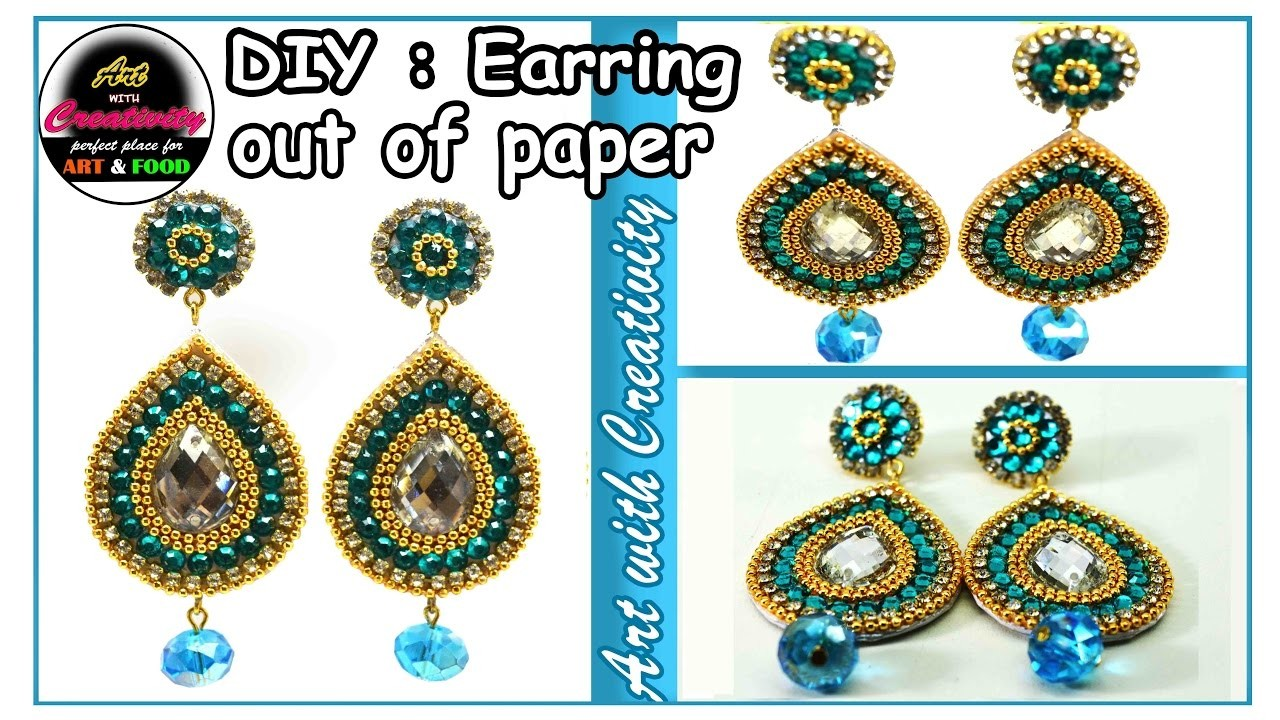 How to make Paper Earrings   made out of paper   Art with Creativity 132