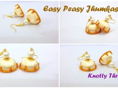 | Little Girl's DIY | How to make Easy Peasy Jhumkas in less than 10 mins @ Home | Tutorial |