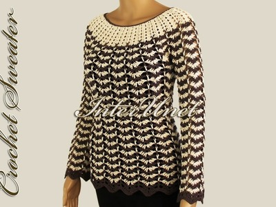 Sweater pullover with long sleeves – crochet pattern with two colors combination