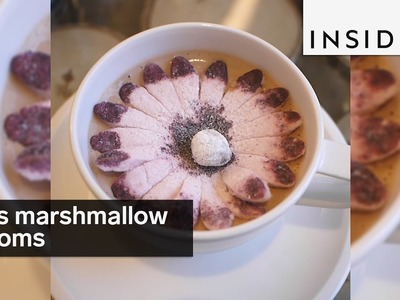 This flower-shaped marshmallow blooms in your hot chocolate