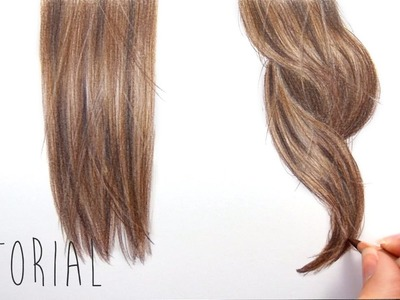Tutorial | How to draw realistic brown straight and curly hair with colored pencils | Emmy Kalia