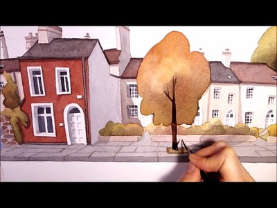 """Watercolor Illustration """"little houses"""" speed painting art by Iraville"""