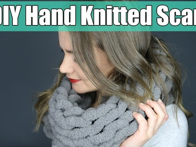 DIY 10 Minute Hand Knitting Infinity Scarf   Easier Than Arm Knitting