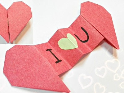 Diy 3d origami valentine heart envelope love secret message for beginners, valentine's day card gift