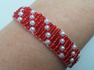 DIY Beaded  Jewelry Project for Valentine's Day. Dotted bracelet