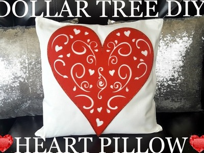DIY DOLLAR TREE Valentine's Day HEART PILLOW 2017 EASY CRAFT