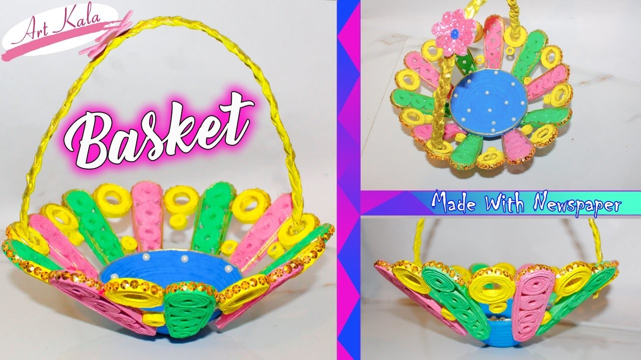 DIY How to Make a Basket from Recycled newspaper   Handmade Basket   Artkala