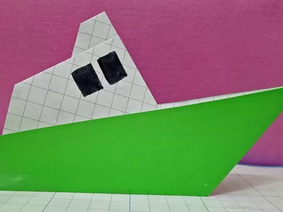 Diy origami a paper steam ship.easy fold for kid.how to make paper steam ship.peper ship tutorial