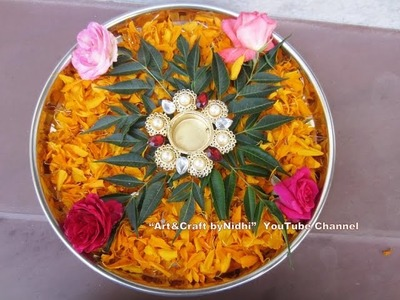 Easy DIY Pooja Arti Thaali Plate Decoration Using Fresh Rose Flowers Marigold Petals Tutorial TIPS