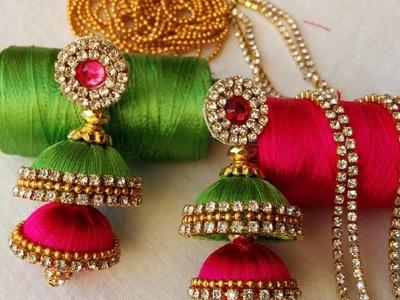 Making of double butta silk thread jhumkas with pink kundans | Fancy item silk thread jhumkas
