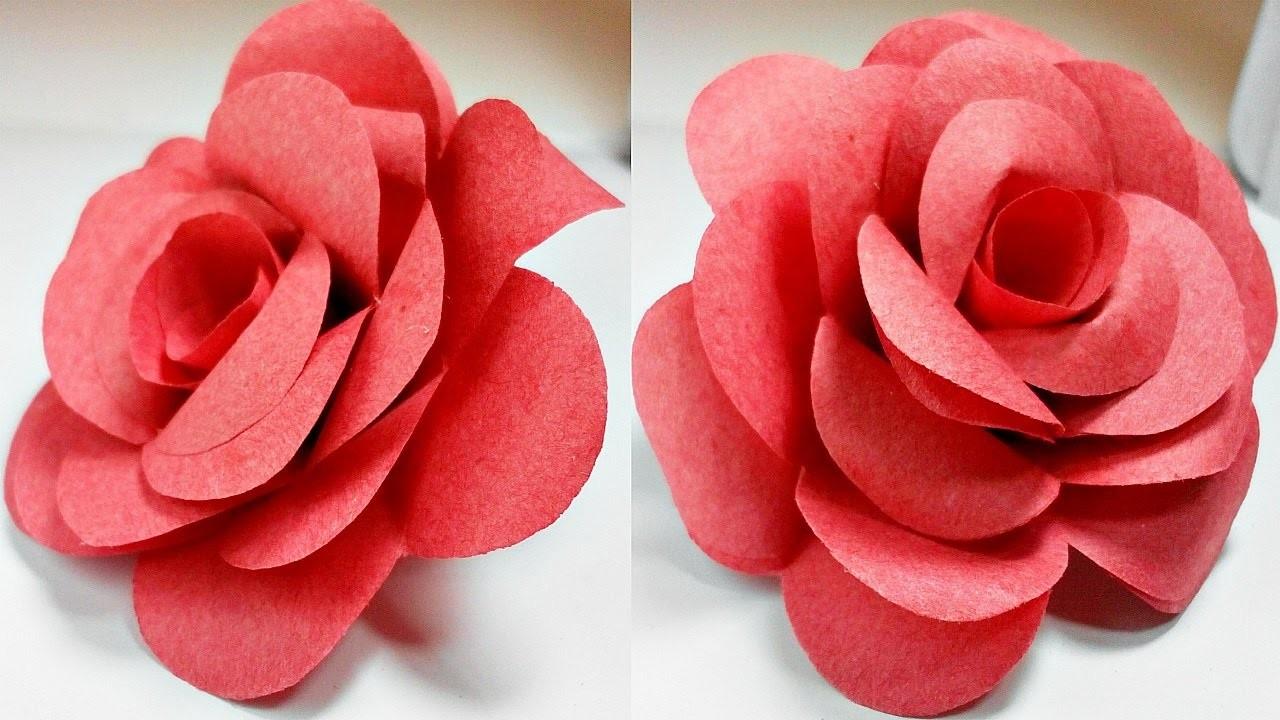 Paper flowers rose diy tutorial easy for children.origami ...