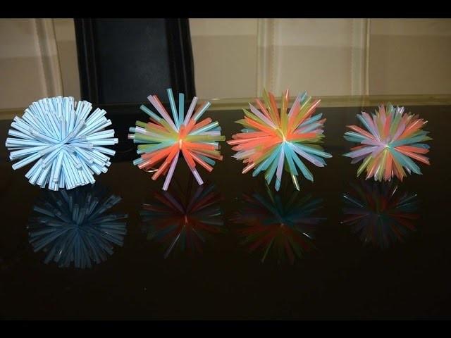 Straw pompoms for decoration DIY art & craft life hack