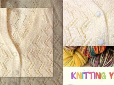 ZigZag Net pattern on cream color ladies cardigan (Hindi) Part-1