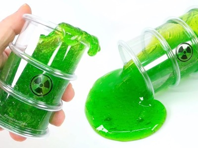 DIY Polluted Radioactive Slime | How To Make Contact Lens Solution Slime! Drum Glue Slime Toys