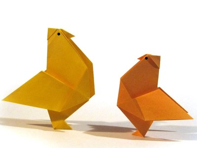 Easy Easter Origami Hen - Tutorial - How to make an easy origami rooster. hen