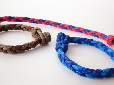 How to make a Basic 3 Strand Flat Braid. Diamond Knot and Loop Paracord Bracelet