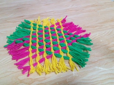 How to Make a Handmade and Easy hexagon Carpet   How to Make Easy rug   Yarn Projects + Tutorial .