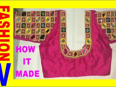 How to make Designer blouse at Home-30|| maggam work neck line || zardosi work for beginners |