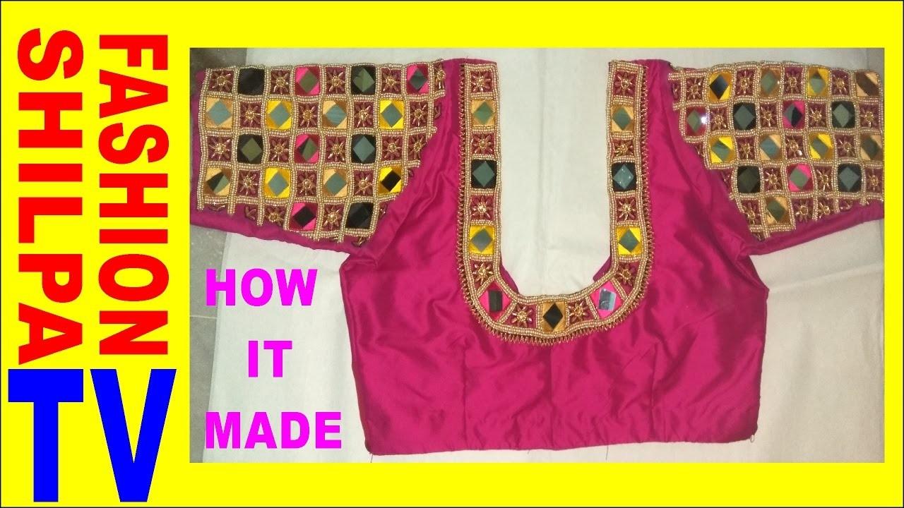 How to make Designer blouse at Home-30|| maggam work neck line || zardosi work for beginners |