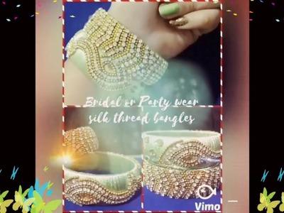 How To Make Designer Bridal Or Party Wear Peacock design Silk Thread Bangles